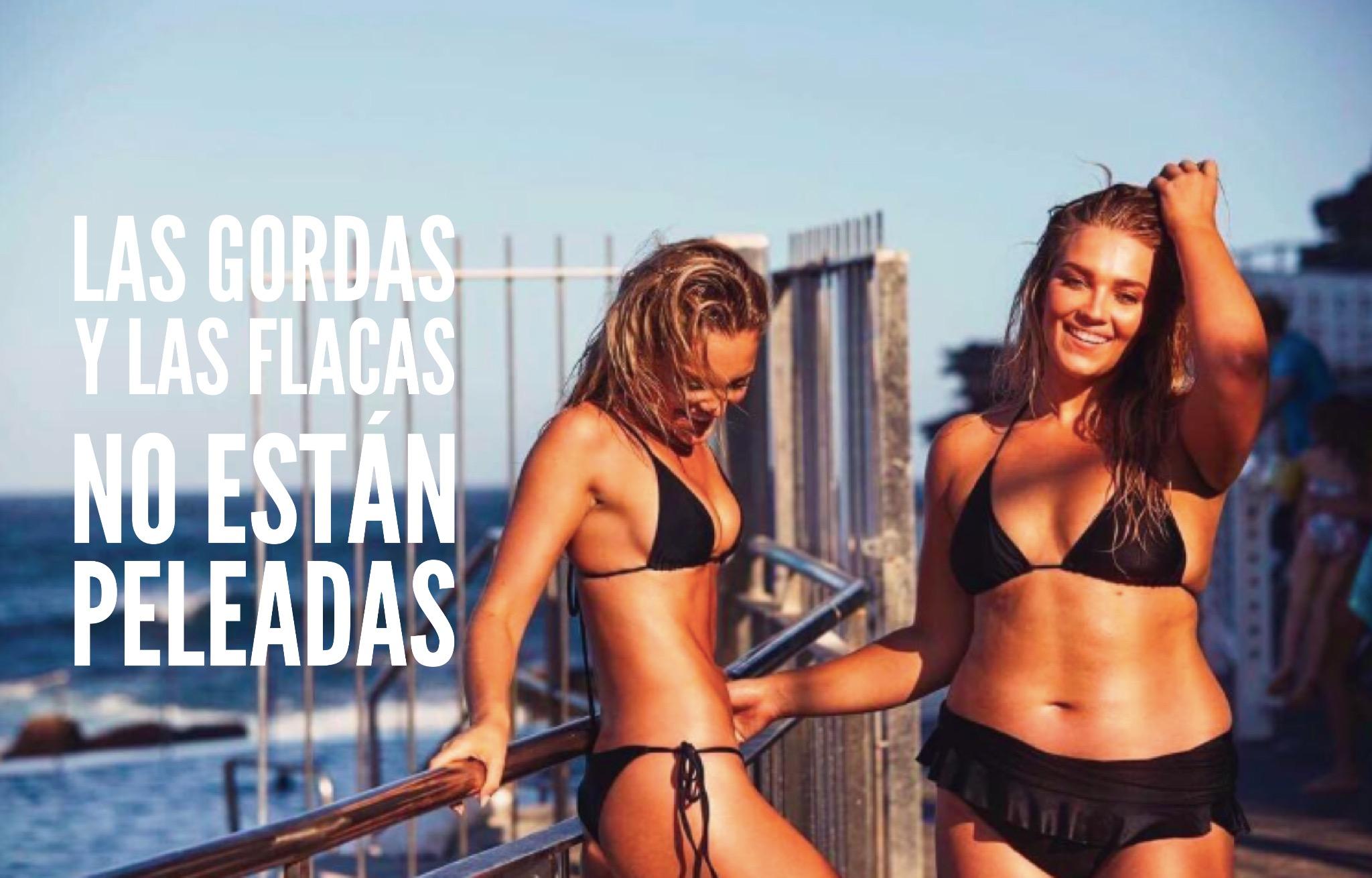 Gorda-flaca-amigas-modelo-pelea-australianas-curvy-plus-size-tallas-grandes-amistad-mujeres-feminismo-peso-talla